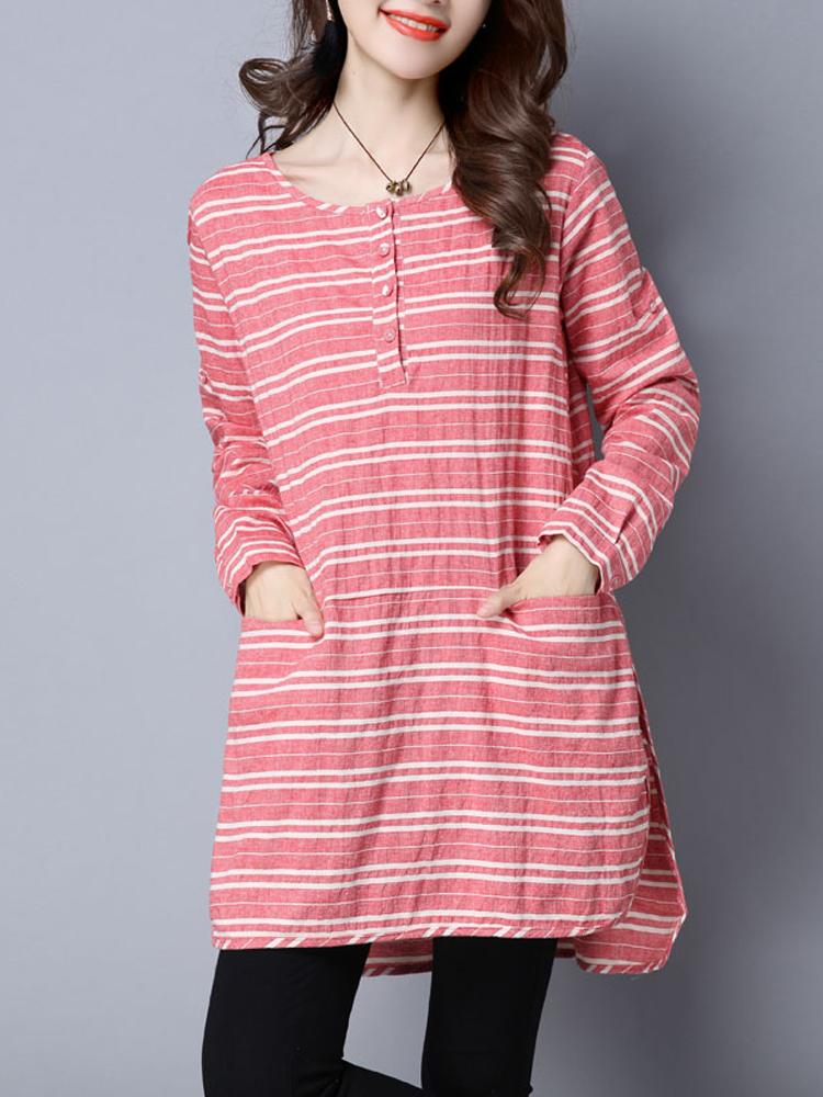 Casual Stripe O-Neck Long Sleeve Loose Split Women Dress