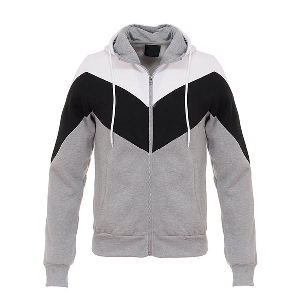 Mens Casual Splicing Hoodies Sweatshirt Spell Color Zipper Slim Fit Sport Sweatshirt