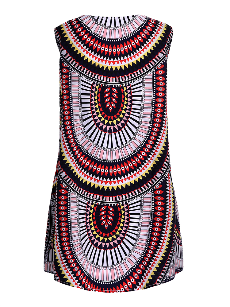 Geometric Printed Sleeveless O-Neck Mini Dresses For Women