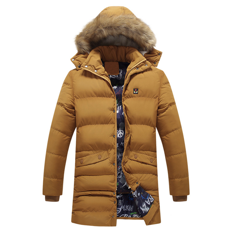 Mens Winter Mid Length Thickened Buttons Warm Padded Jacket