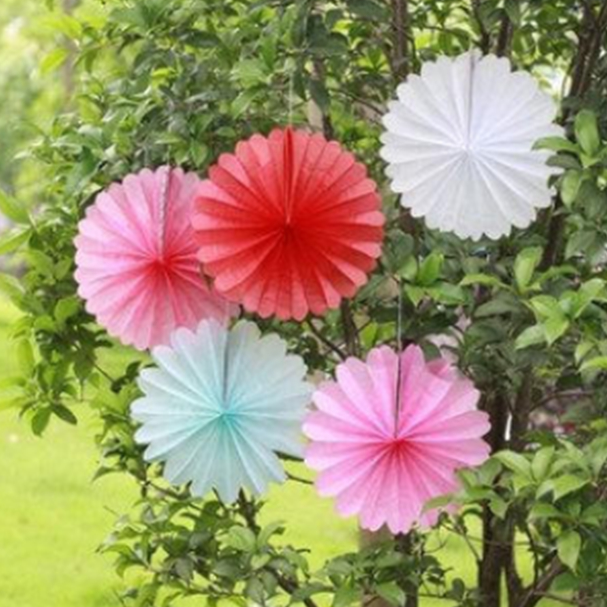 30cm 12'' Hanging Tissue Fan Paper Pom Poms Party Balls Wedding Christmas Party Decoration