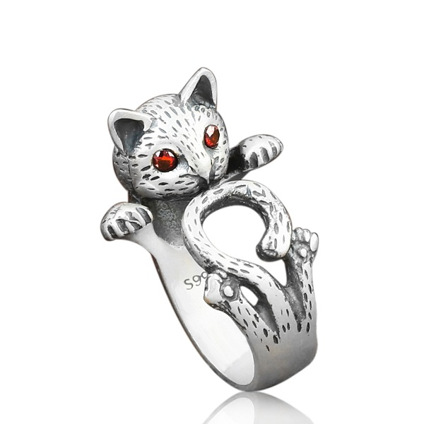 Image of EthnicFortune Katze Fingerring Cute Antique Silver Rings