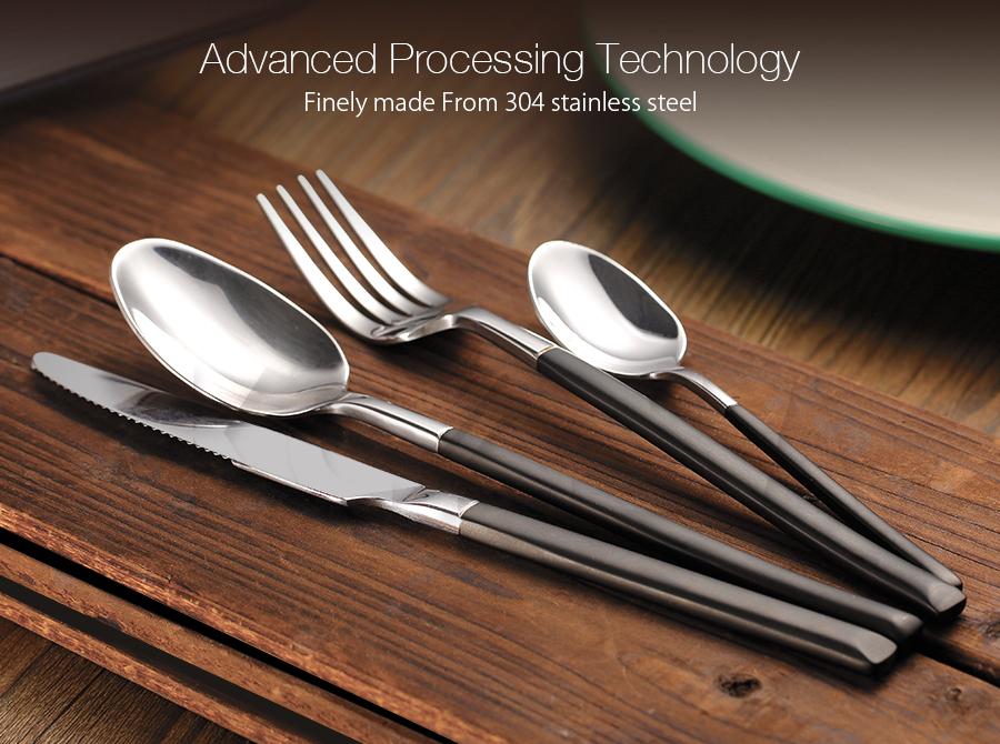 KCASA FL4 4 Pieces Stainless Steel Silver Flatware Set Mirror Polishing Flatware Dinnerware Cutlery