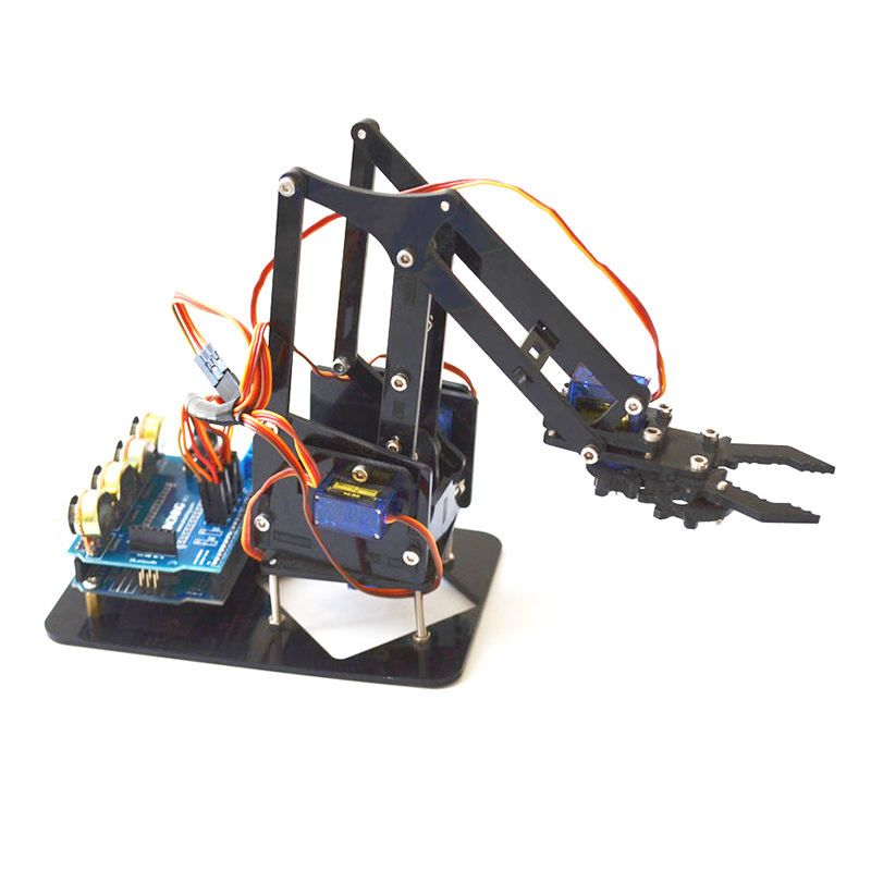 DIY 4DOF Robot Arm 4 Axis Acrylic Rotating Mechanical Robot Arm With Arduino UNO R3 4PCS SG90 Servo