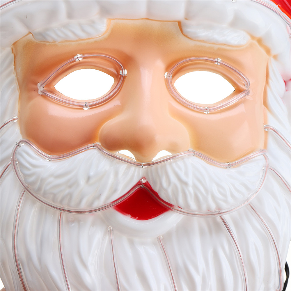 Glow Mask EL Wire LED Light Up Santa Claus Christmas Eye Mask Party Cosplay
