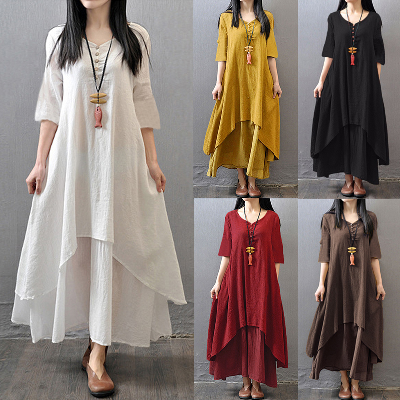 Vintage Women Half Sleeve Solid Color Irregular Hem Dress with Buttons