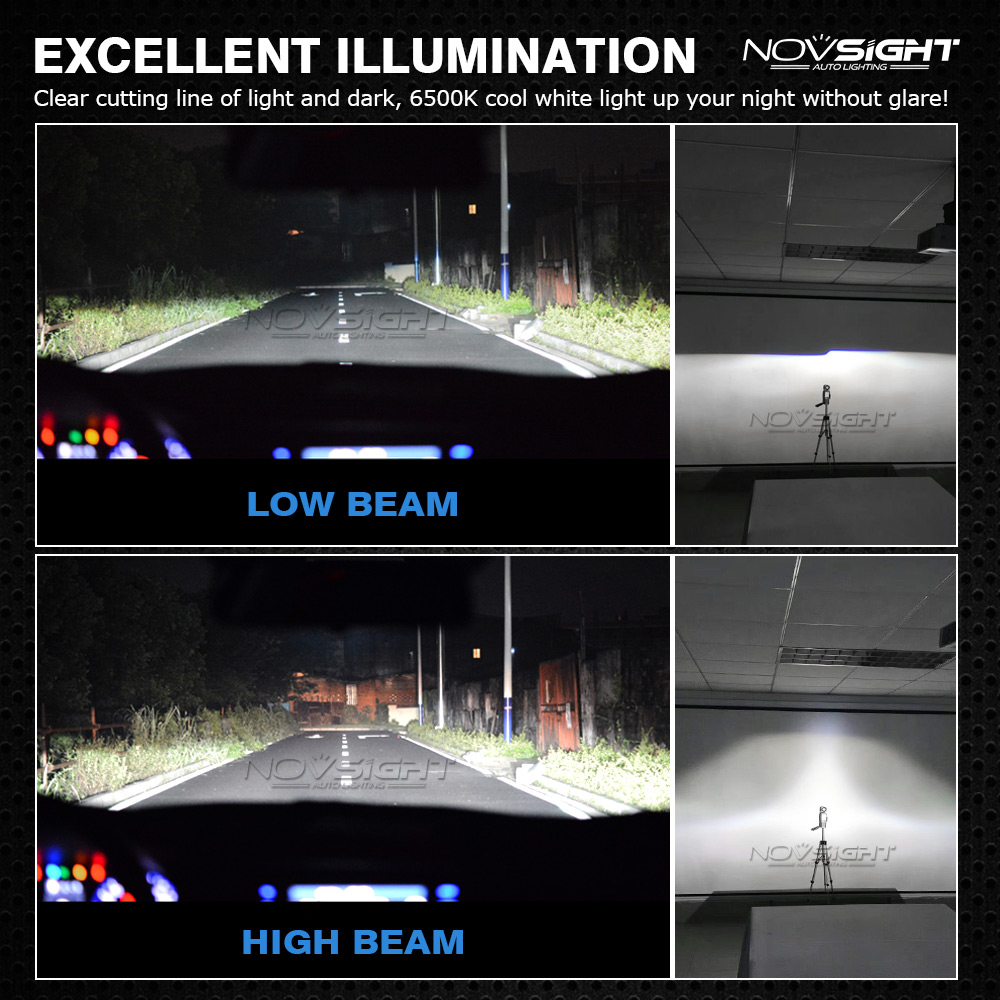 NovSight A500-N12 COB LED Car Headlights Bulbs Fog Lamps 72W 10000LM H1 H3 H4 H7 H11 9005 9006 6500K