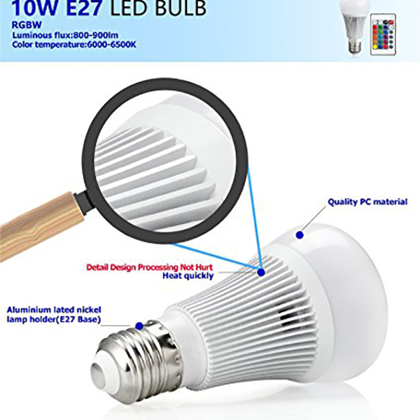 E27 10W RGBW Dimmable LED Smart Light Bulb With 24Keys Remote Control AC85-265V