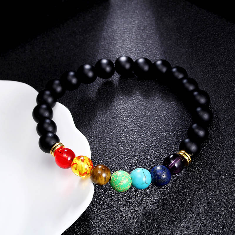8mm Colorful Lava Beaded Agate Handmade Chain Chakra Energy Lucky Bracelet