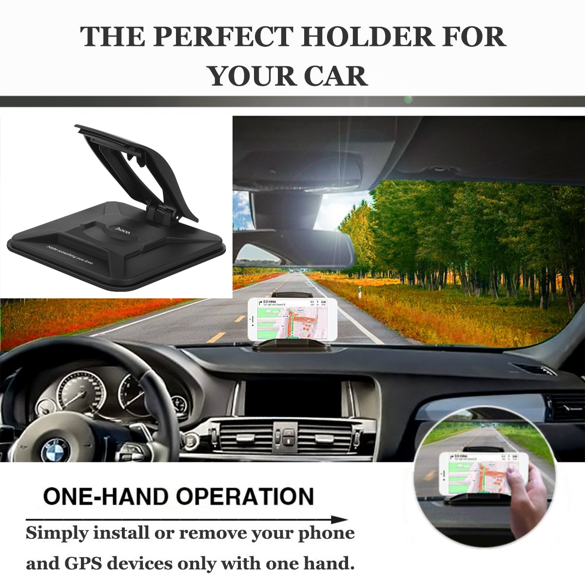 HOCO CA21 Automotive Center Stack Car Holder Silicone Phone Stand Mount for iPhone X 8 Samsung S8