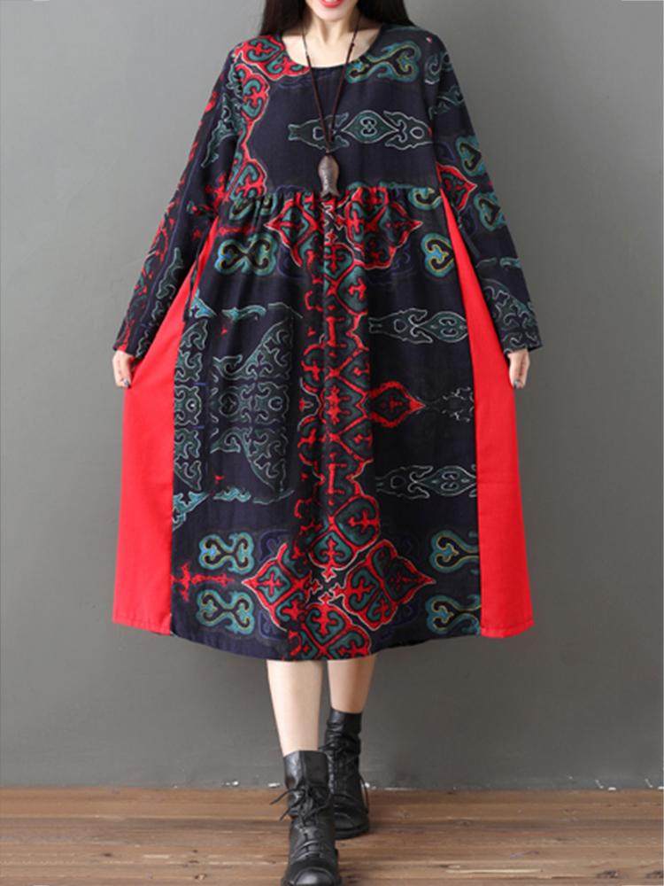 Vintage Print Patchwork Drawstring Waist Long Sleeve Dress