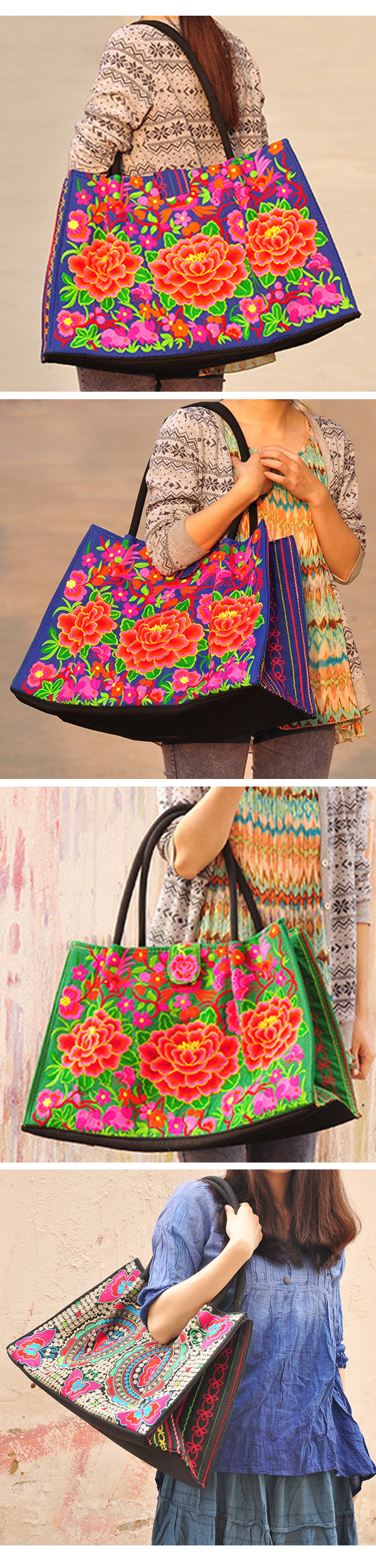 National Style Tote Bag Fashion Embroidery Bag Handbag