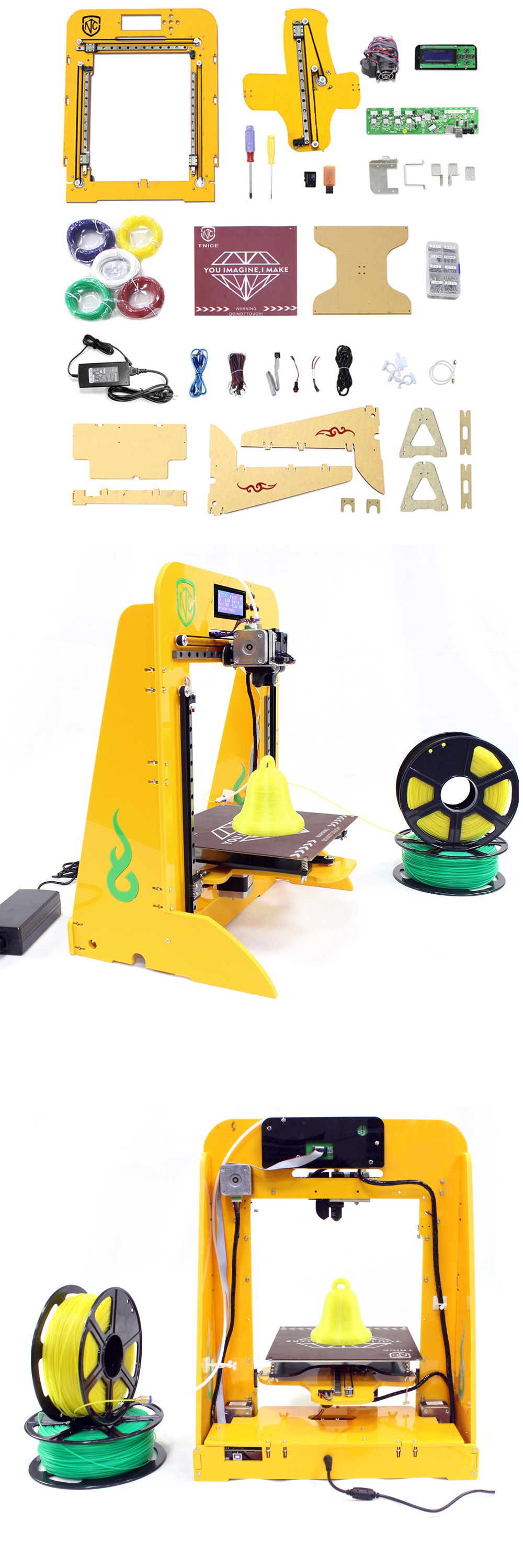 TNICE T-23 Single Extruder High Accuracy DIY 3D Printer Kit Come with Filament 1.75mm 0.4mm Nozzle