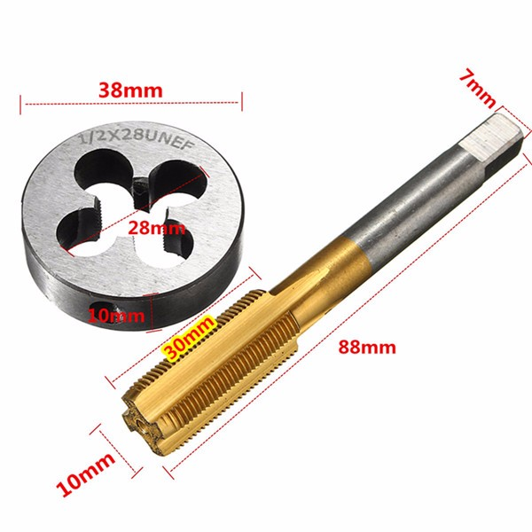 1/2-28 Titanium Coated Right Hand Thread Tap and Round Thread Die