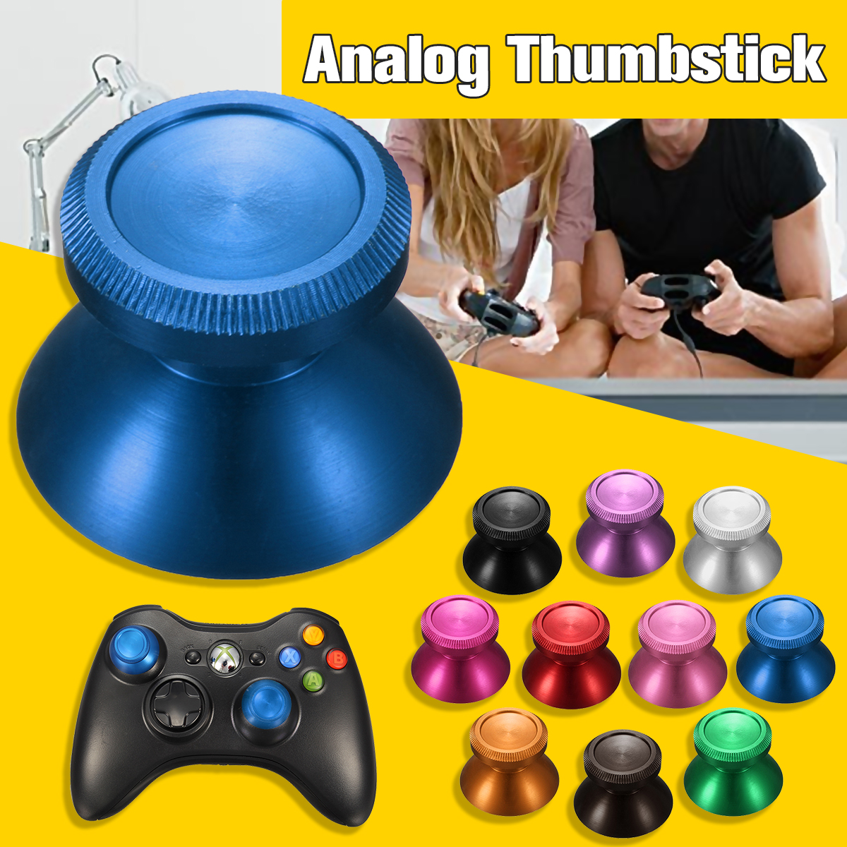 Universal Joystick Aluminum Alloy Mushroom Cap Analog Thumbstick for Xbox One PS4 Dualshock 4 Gamepad Game Controller