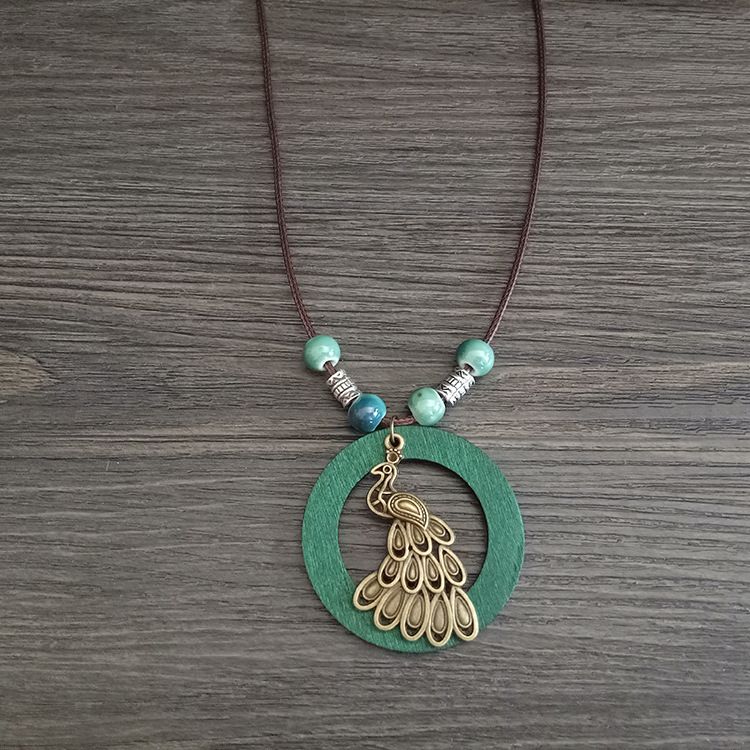 Vintage Pendant Necklace Green Hollow Wood Peacock Pend