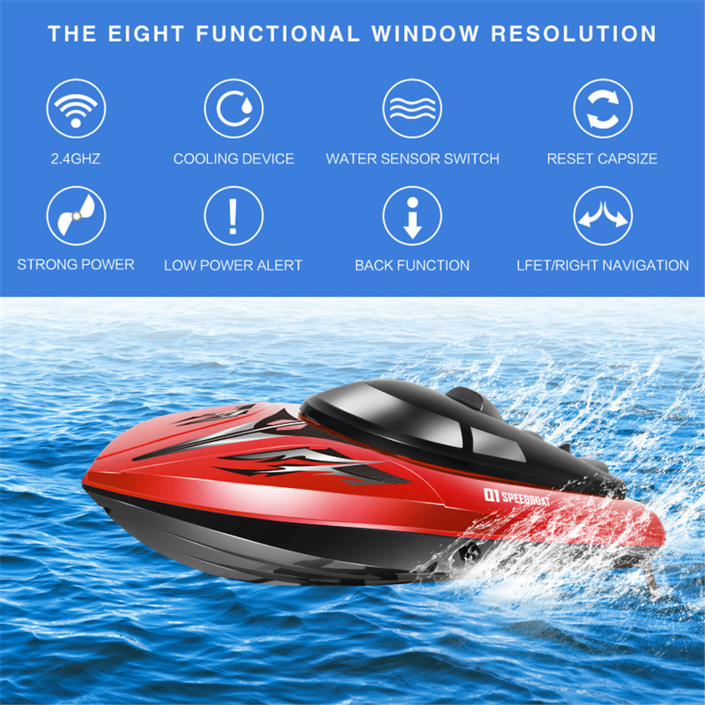 SYMA Q1 2.4G 43cm 180 Degree Flip Rc Boat 30km/h High Speedboat With Water Cooling System - Photo: 2