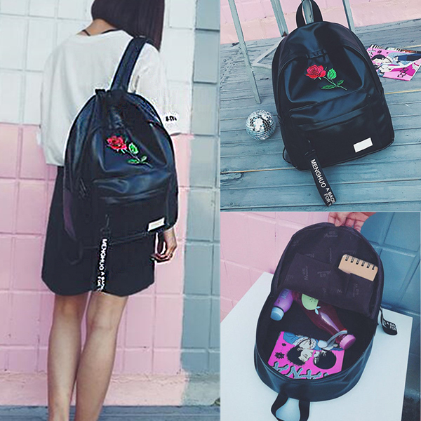 Embroidered Rose Pattern Vintage PU Backpack laptop backpack Travel School Bag