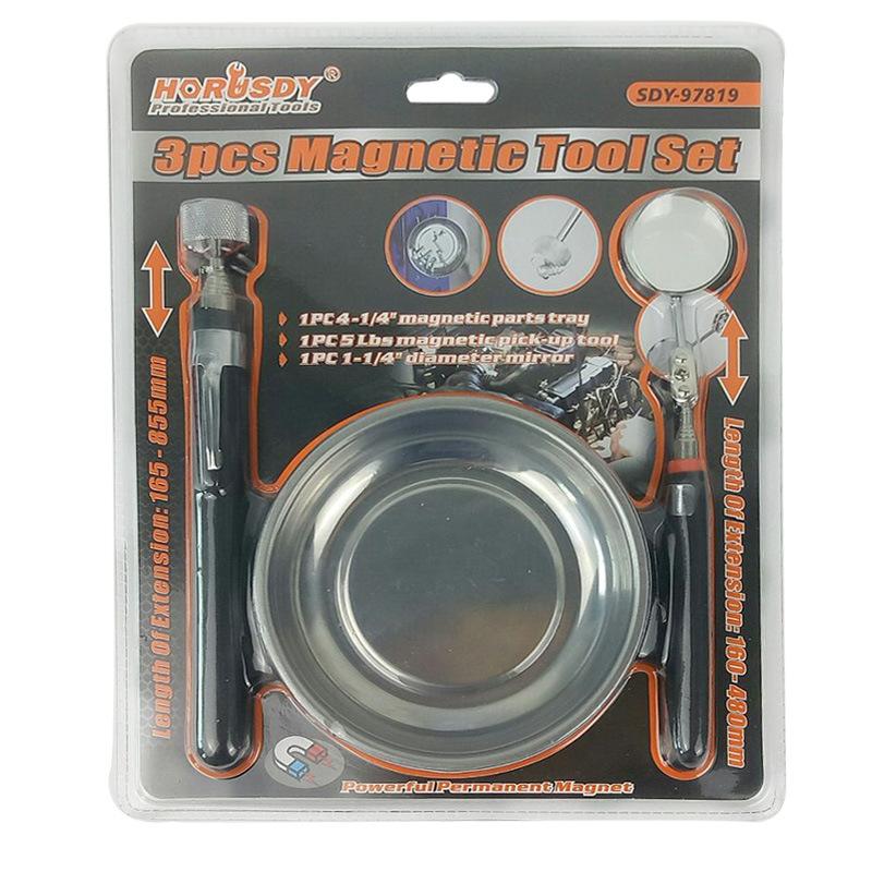 3PCS Magnetic Tool Set Magnetic Pickup Disk Strip Magnetic Tool Box Sleeve Holder