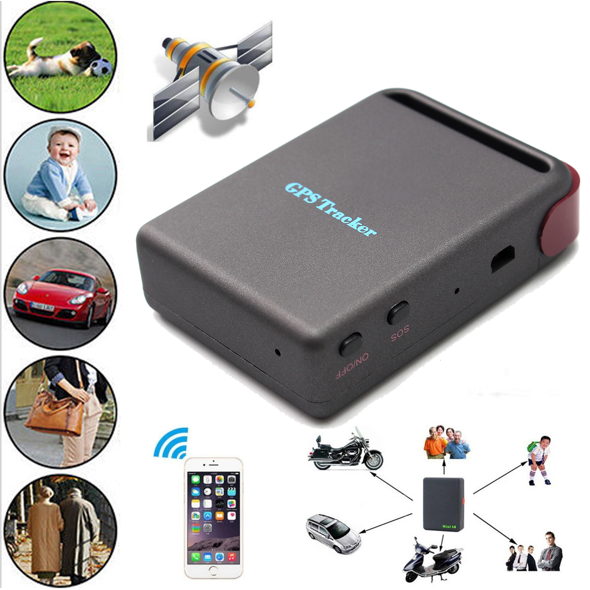 Real time Mini Vehicle GSM GPRS GPS Tracker Motorcycle Car Vehicle Tracking Locator Device TK102