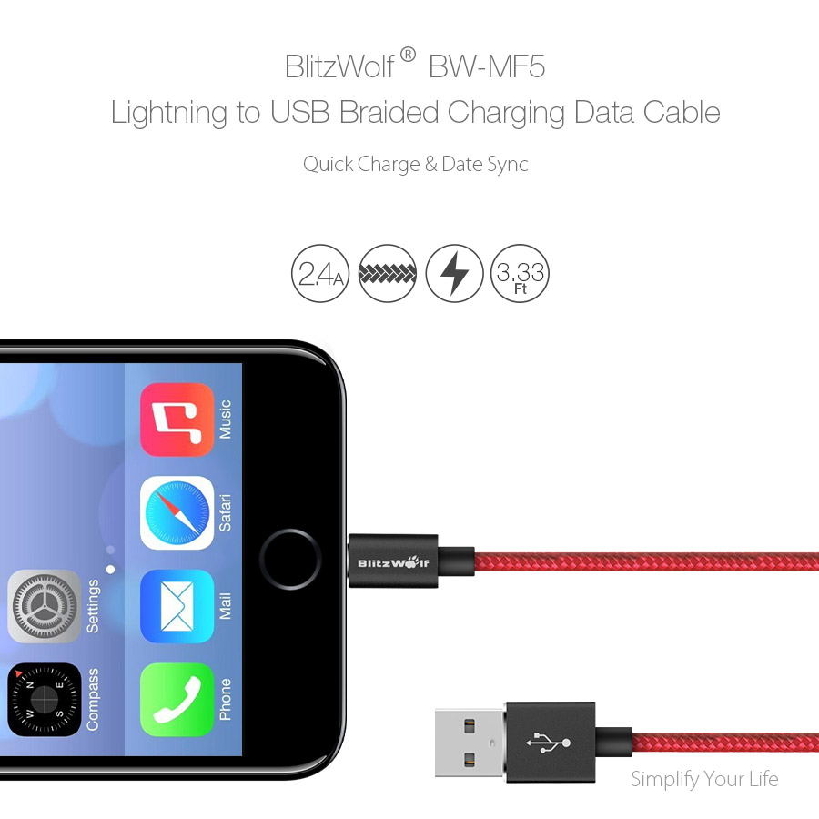 BlitzWolf® BW-MF5 2.4A Lightning to USB Braided Data Cable 3.33ft/1m With MFI for iPhone 8 Plus X