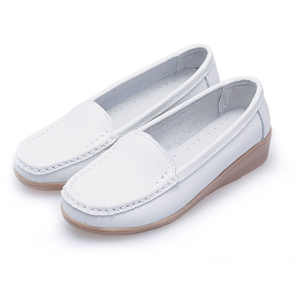 New Women Fashion Casual Breathable Comfortable Slip-On Wedge Heel Flat Shoes