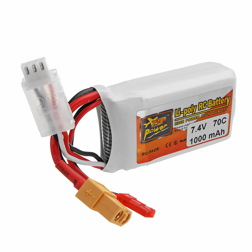 ZOP POWER 7.4V 1000mAH 70C 2S Lipo Battery With JST/XT60 Plug For RC Racing Racer - Photo: 3