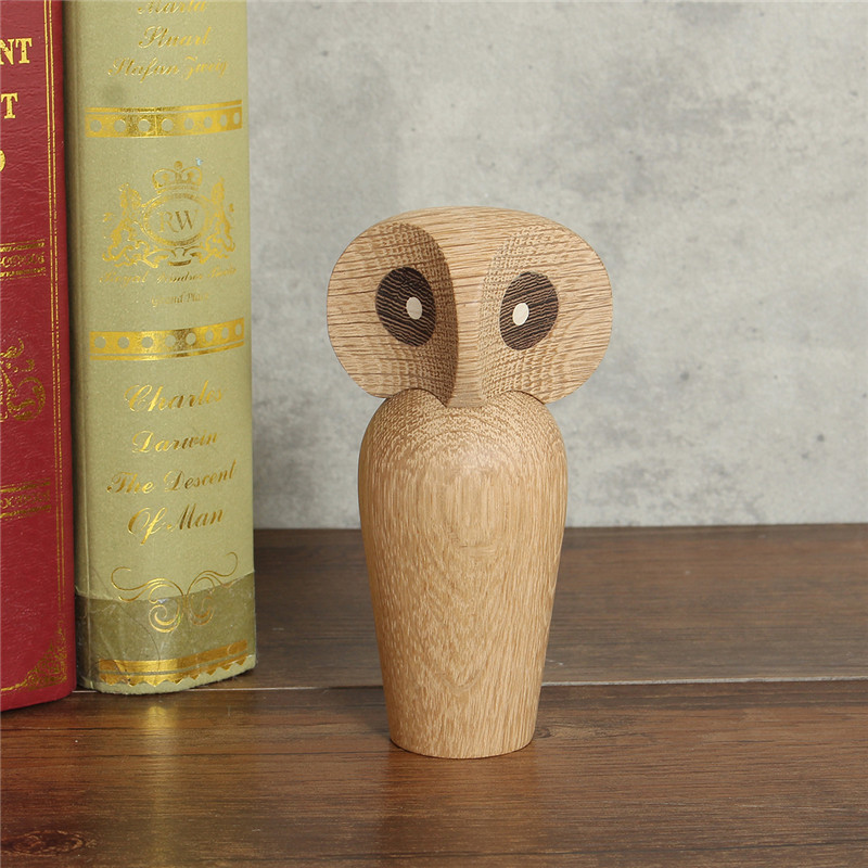 Handicraft Retro Wooden Owl Puppet Home Decoration Christmas Gift Kids Children Toy Ornament