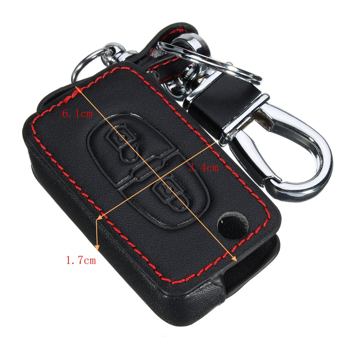 2 Button PU Leather Key Chain Case Cover for Peugeot 301 308S 408 508 2008 3008