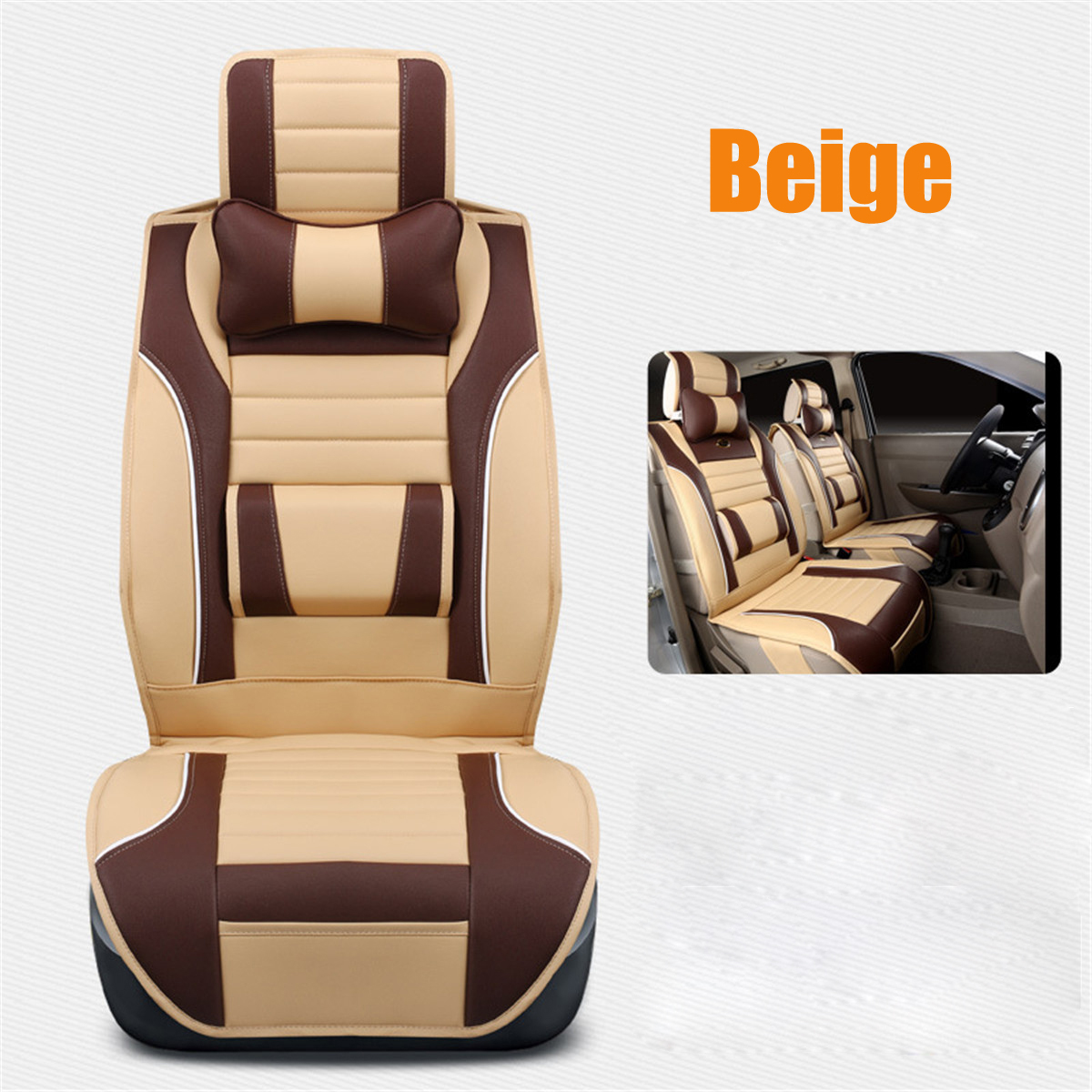 1Pcs Luxury Full Surround Front Rear PU Leather Car Seat Cover Cushion Headrest Pillow