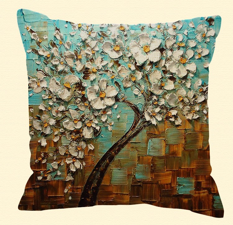 Honana WX-136 45x45cm 3D Vintage Flower Elephant Cotton Linen Pillow Case Cushion Cover Home Car Decor