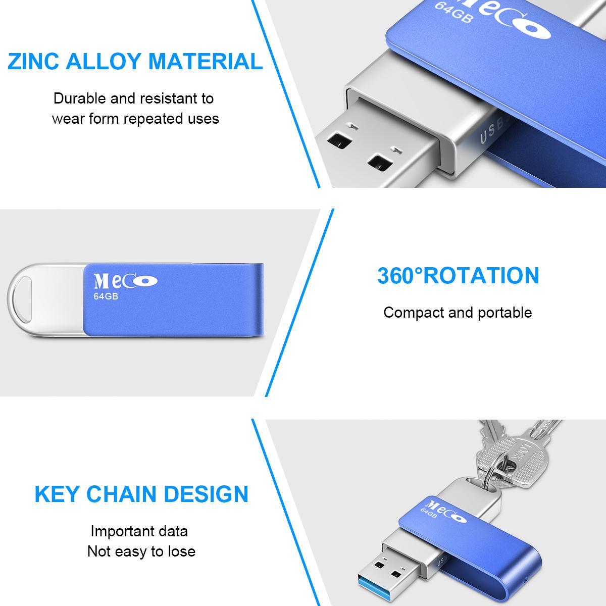 MECO USB 3.0 64G USB Flash Drive Memory Pen Drive Aluminum With Keyring USB Disk