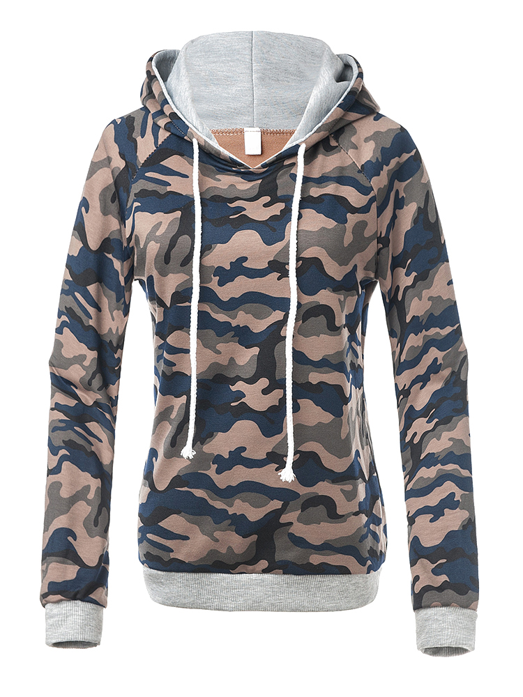 Casual Camouflage Hooded Long Sleeve Loose Women Sweatshirt