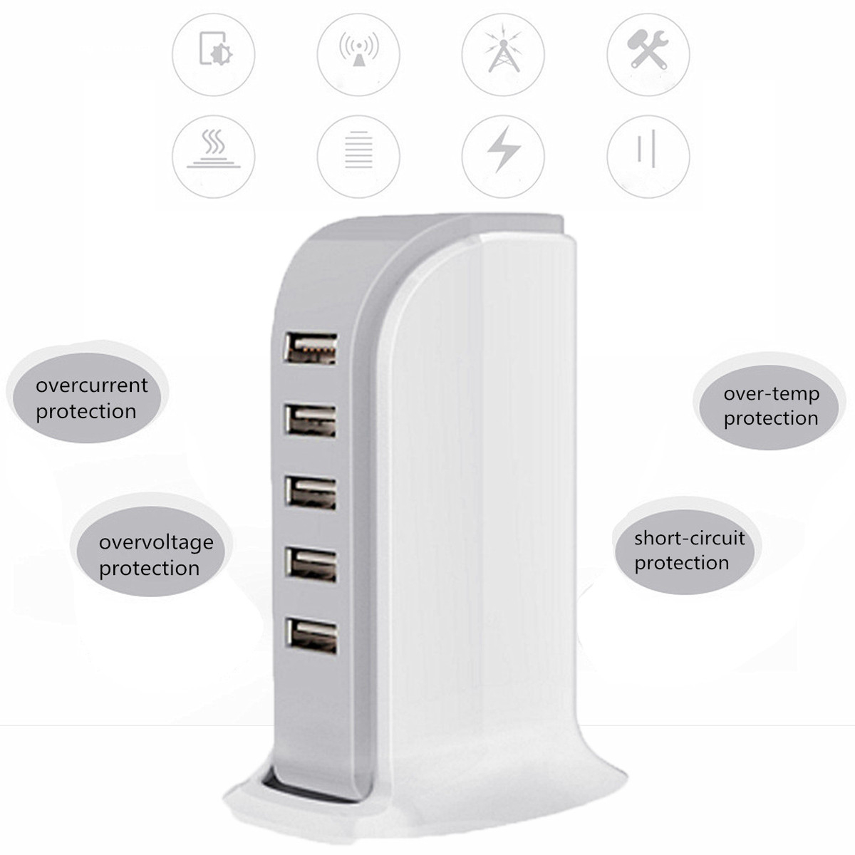 5 Port USB Adapter 30W 6A Travel Wall Rapid Charger Station Hub Phone Tablet