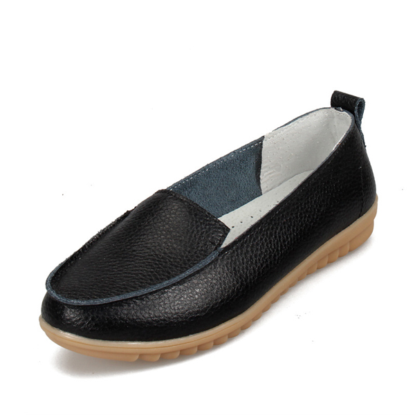US Size 5-10 Casual Leather Soft Women Shoes Outdoor Flat Loafers