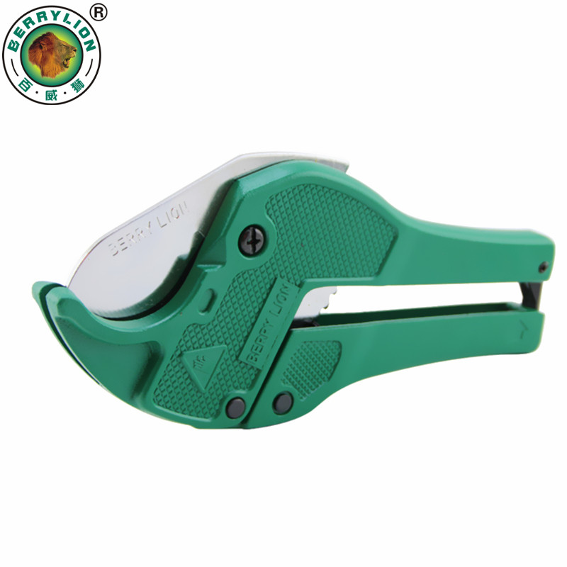 BERRYLION 42mm Plastic Pipe Cutter PVC/PU/PP/PE Hose Water Tube Scissors Aluminum Alloy Body Ratcheting Cutting Hand Tools