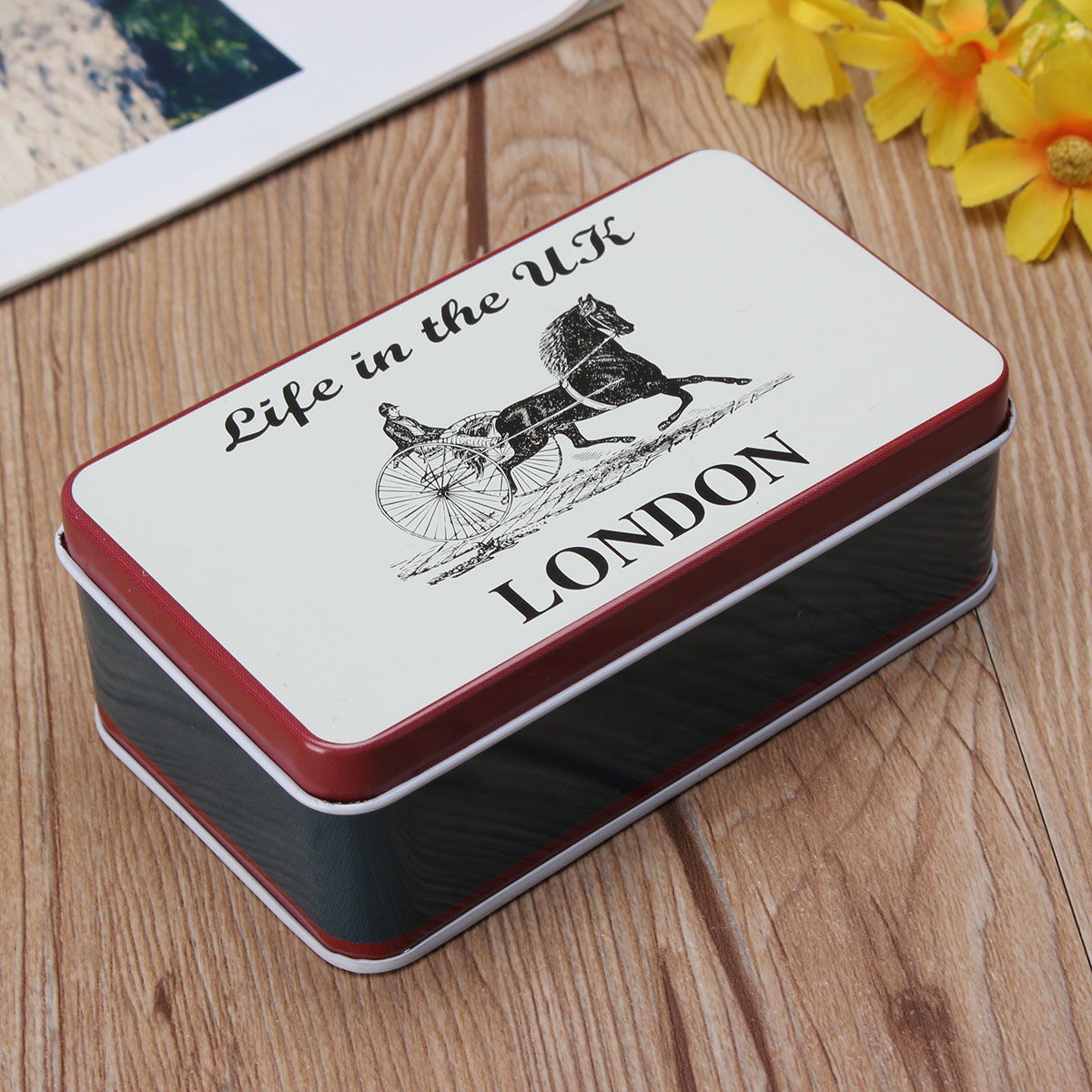 Vintage Tin UK Flag London Big Ben Bus Stationery Jewelry Storage Box