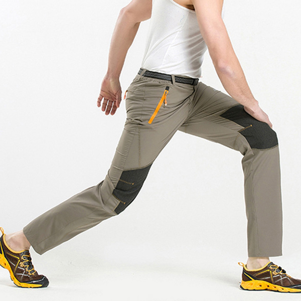Summer Outdooors Elastic Quick Drying pants Mens Splicing Color Sun-proof Climbing Hiking Pants