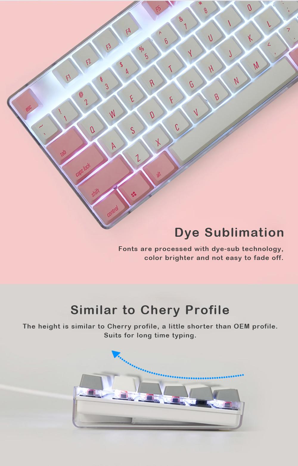 Magicforce 108 Key Pink White Color Dye-sub PBT Keycaps Keycap Set for Mechanical Keyboard