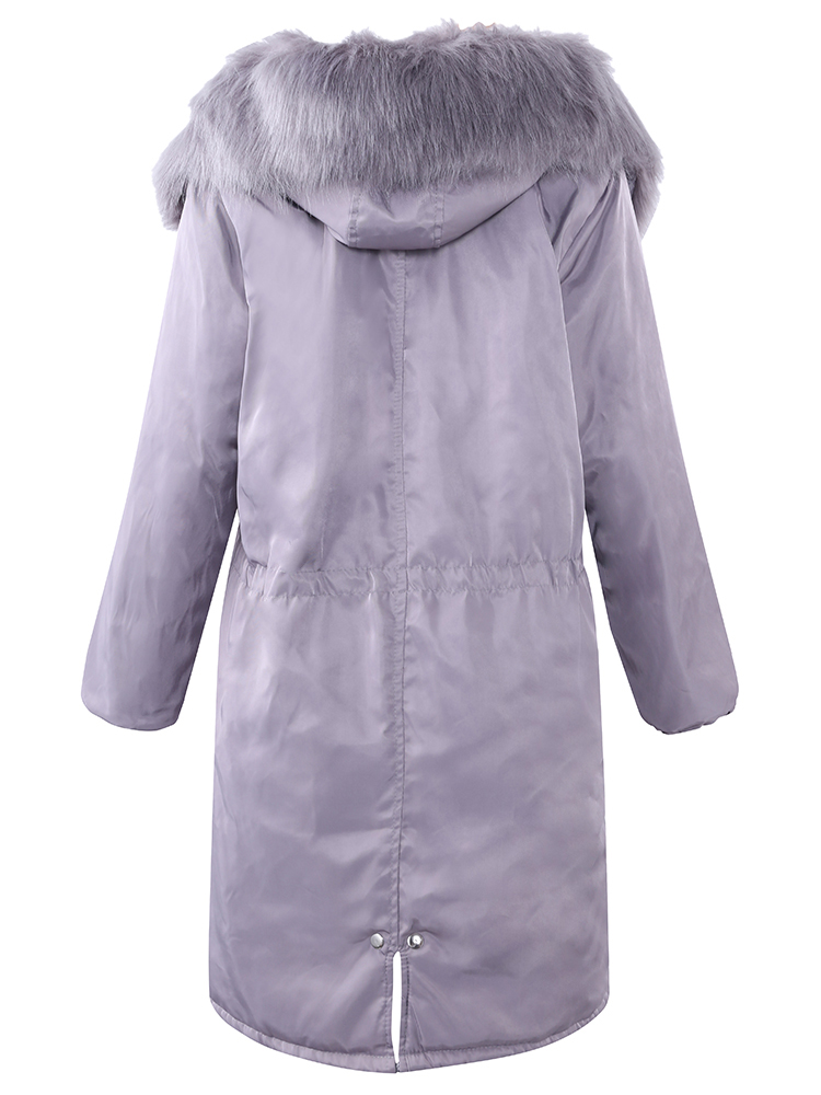 Casual Solid Fur Collar Pocket Thicken Hooded Coat