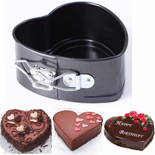 Non-Stick Stainless Steel Cake Pan Heart Shape Cheese Bread Jelly Pudding Muffin Mold Baking Tool