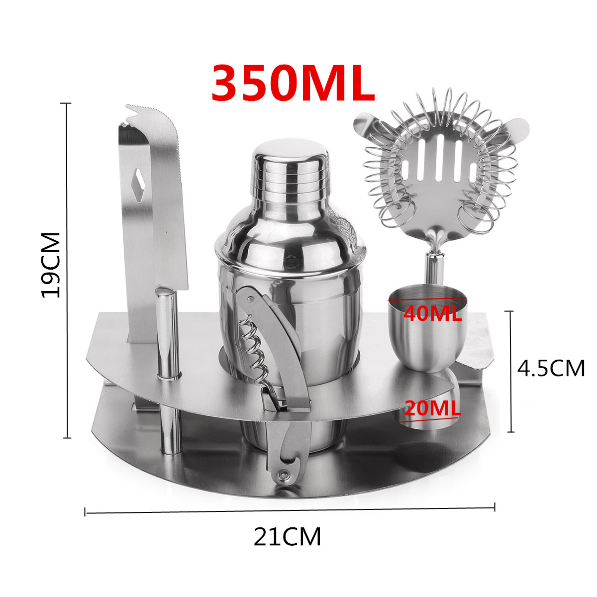 350mL Bar Drink Cocktail Shaker Jigger Mixer Sets Stainless Steel Bartender Tool Kit
