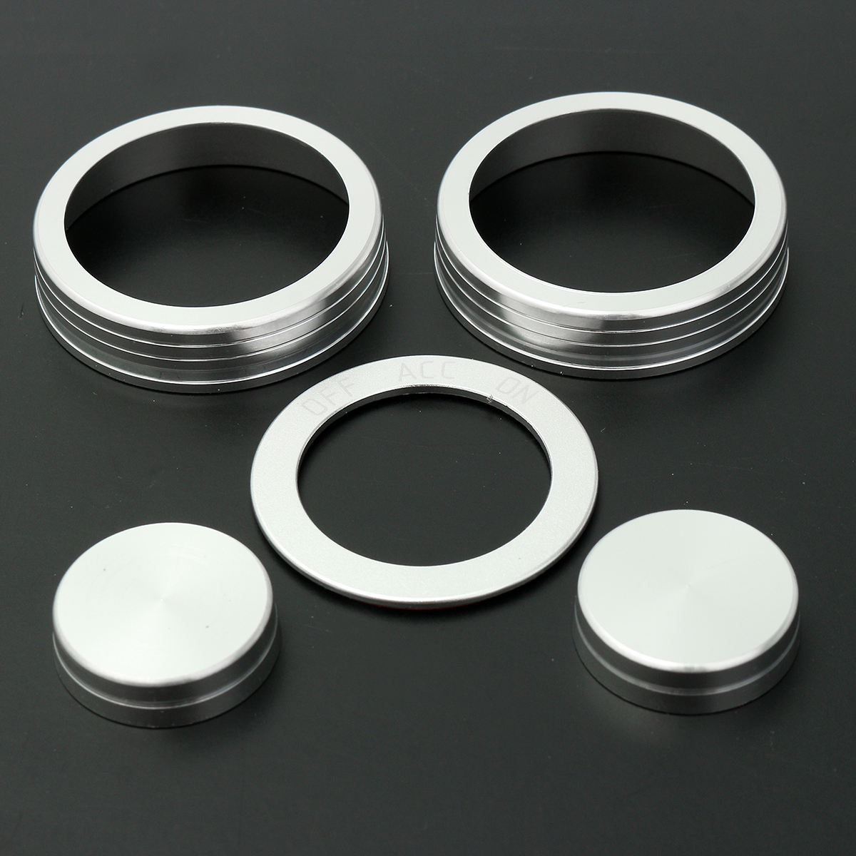 5 Pcs Car Air Condition Button Ignition Ring Cover Frame Trim For Tucson 2016 2017