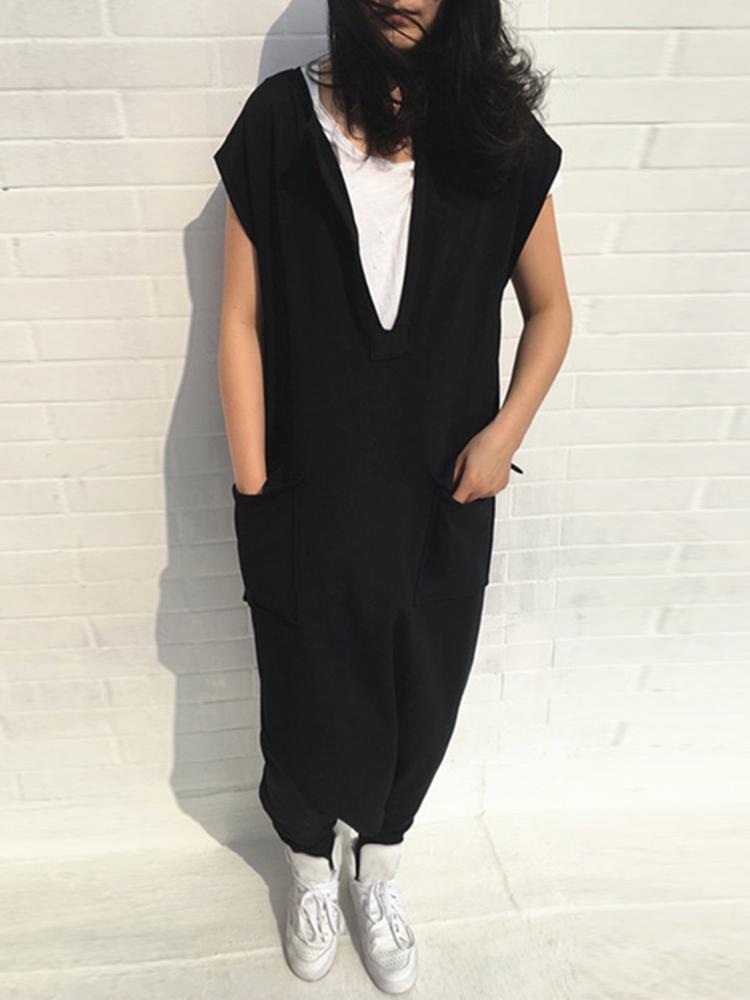 Plus Size Women Casual Solid Color V-neck Baggy Jumpsuit