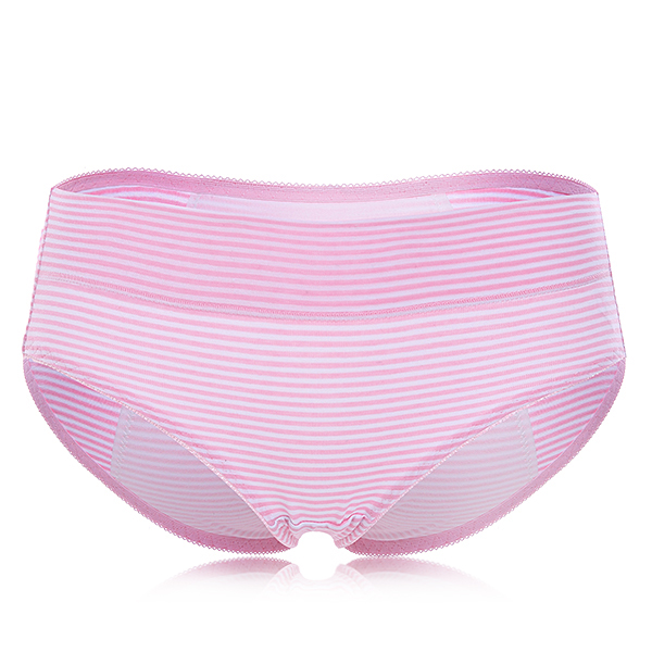 Women Soft Comfy Cotton Striped Dot Printed Waterproof Cloth Physiological Panties