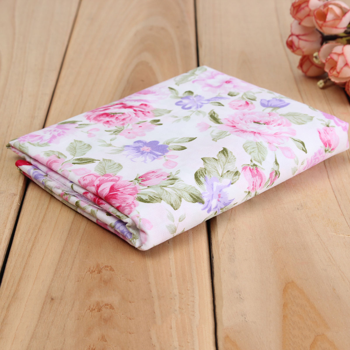 150x50cm Cotton Pink Rose Flower Sewing Fabric Dolls Purse Handwork DIY Patchwork Cloths