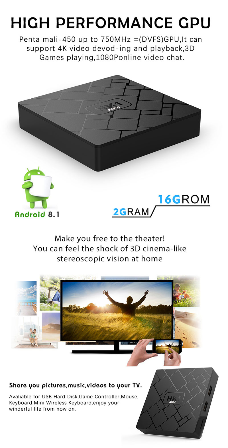 HK1 Mini RK3229 2GB RAM 16GB ROM Android 4K H.265 TV Box