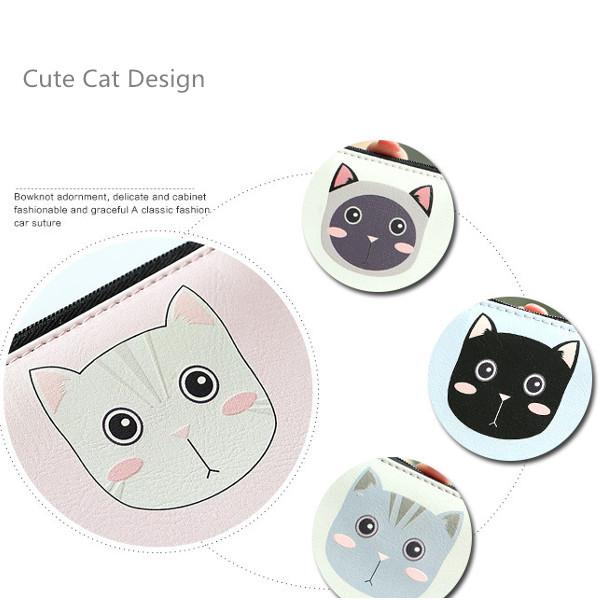Women Cute Cat Hasp Short Wallet Girls Cute Animal Purse Card Holder Coin Bags