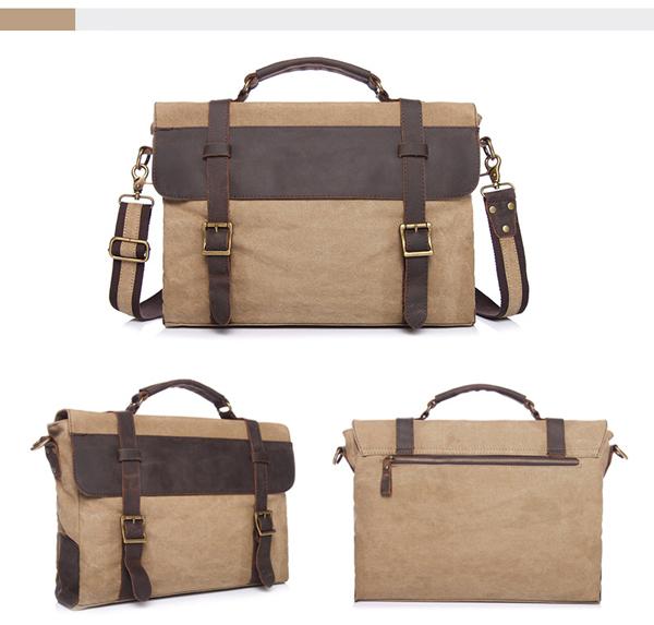 Men Retro Messenger Bag Office Briefcase Document Crossbody Shoulder Bag