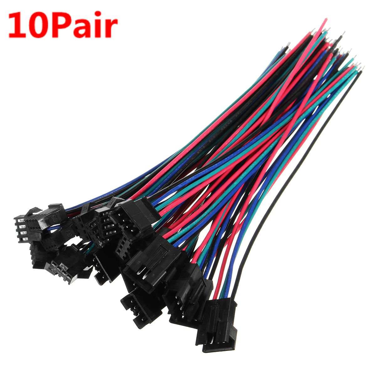 Excellway® 10 sets JST 15cm SM 4Pin 22AWG Wire Male and Female Connectors Wire Pitch 2.54mm